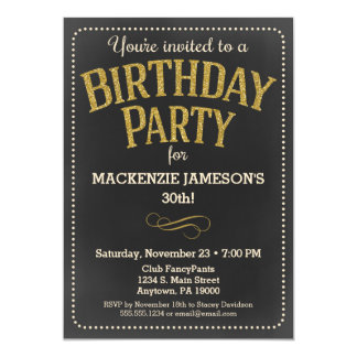 Chalkboard Birthday Invitation Adult Man or Woman