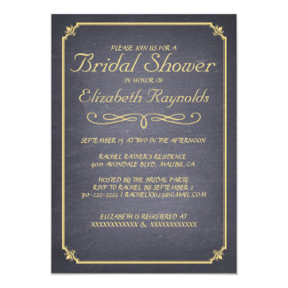 Chalkboard Black & Gold Bridal Shower Invitations