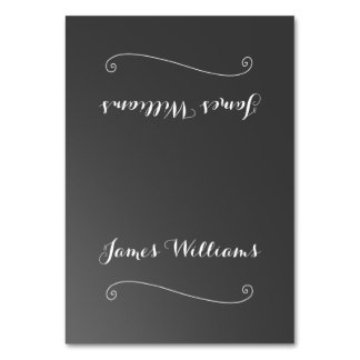 Chalkboard Black White Place Setting Cards