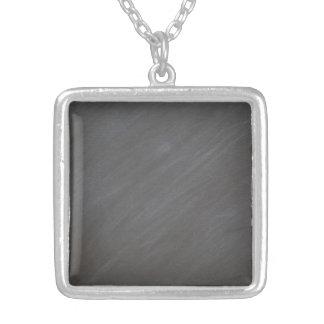 Chalkboard Blackboard Background Retro Style Black Silver Plated Necklace