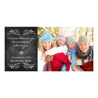Chalkboard Blessings New Year Photo Card