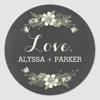 Chalkboard Blooms Favor Sticker