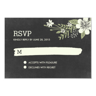 Chalkboard Blooms RSVP /Wedding Response Cards 9 Cm X 13 Cm Invitation Card