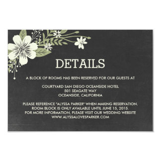 Chalkboard Blooms Wedding Enclosure Cards 9 Cm X 13 Cm Invitation Card