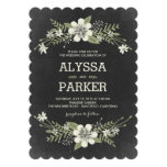 Chalkboard Blooms Wedding Invitations Personalized Announcement