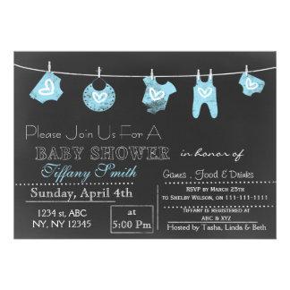 Chalkboard blue Baby shower Invitation