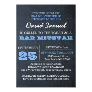 Chalkboard Blue Bar Mitzvah Invitation