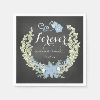 Chalkboard Blue Bells Forever Wedding Paper Napkin