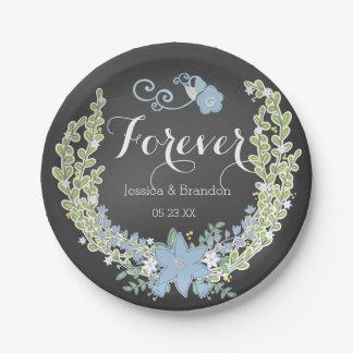 Chalkboard Blue Bells Forever Wedding Paper Plates