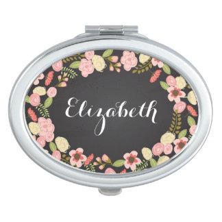Chalkboard Botanical Personalized Compact Makeup Mirrors