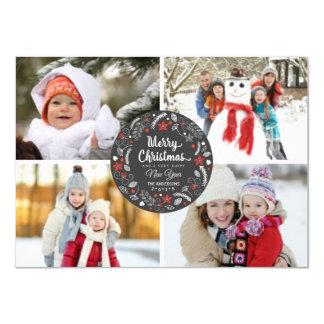 CHALKBOARD BOTANICAL XMAS WREATH PHOTO COLLAGE 11 CM X 16 CM INVITATION CARD