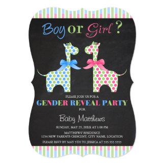 Chalkboard Boy or Girl Giraffe Gender Reveal Party 13 Cm X 18 Cm Invitation Card
