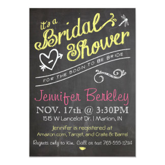 Chalkboard Bridal Wedding Shower Invitation