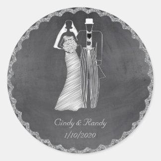 Chalkboard Bride and Groom Wedding Sticker