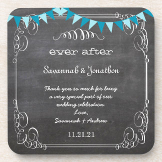Chalkboard Bride & Groom Wedding Coaster