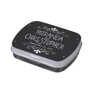 Chalkboard Bride & Groom Wedding Favor Candy Tin