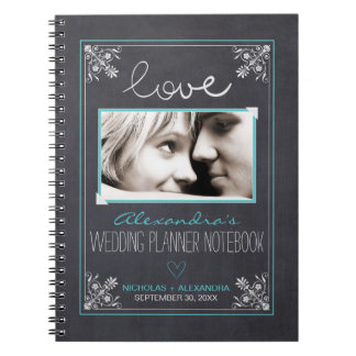 Chalkboard Bride Wedding Planner Notebook (aqua)