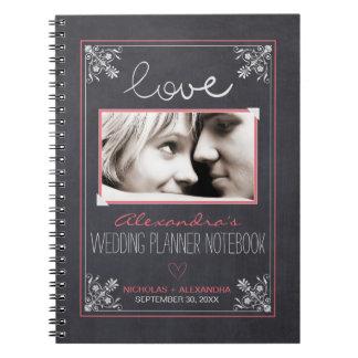 Chalkboard Bride Wedding Planner Notebook (rose)