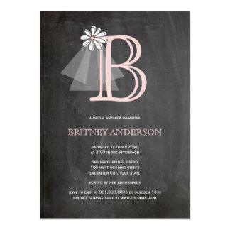 Chalkboard Bride's Veil Monogram Bridal Shower 11 Cm X 16 Cm Invitation Card