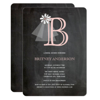 Chalkboard Bride's Veil Monogram Bridal Shower Card
