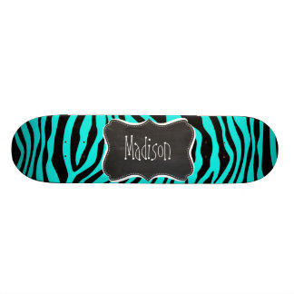 Chalkboard; Bright Turquoise Zebra Animal Print 20.6 Cm Skateboard Deck