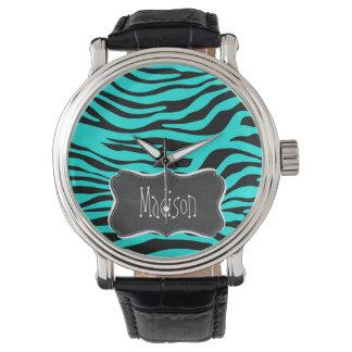 Chalkboard; Bright Turquoise Zebra Animal Print Wristwatch
