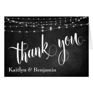 Chalkboard, Bright White Light Strings Thank You Card