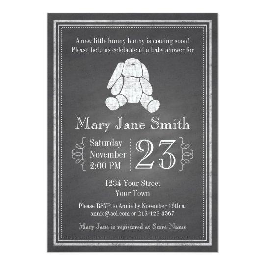 Chalkboard Bunny Baby Shower Invitation