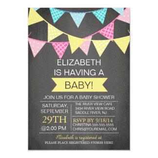 Chalkboard Bunting Gender Neutral Baby Shower 13 Cm X 18 Cm Invitation Card