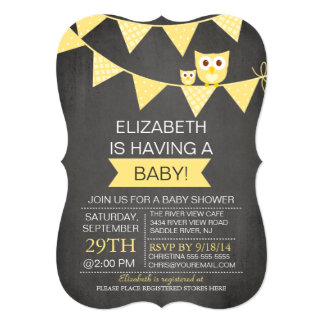 Chalkboard Bunting Owl Gender Neutral Baby Shower 13 Cm X 18 Cm Invitation Card