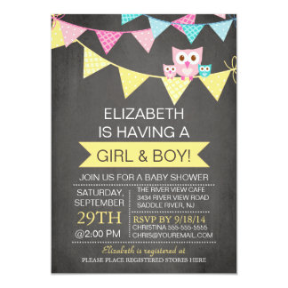 Chalkboard Bunting Owl TWINS GIRL BOY Baby Shower 13 Cm X 18 Cm Invitation Card