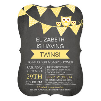 Chalkboard Bunting Owl TWINS NEUTRAL Baby Shower 13 Cm X 18 Cm Invitation Card