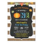 Chalkboard Burlap Cute Pumpkin Baby First Birthday 13 Cm X 18 Cm Invitation Card