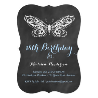 Chalkboard Butterfly 18th Birthday Invitation