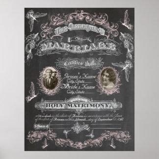 Chalkboard Butterfly Vintage Marriage Certificate Print