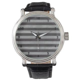 Chalkboard, Chalk Horizontal Stripes Wristwatches