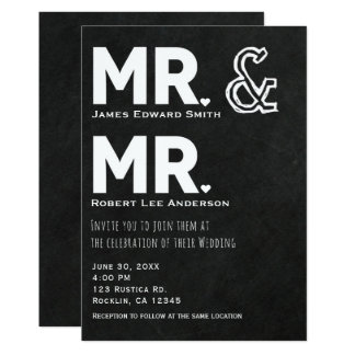 Chalkboard Chalk Mr. & Mr. Gay Wedding Engagement Card