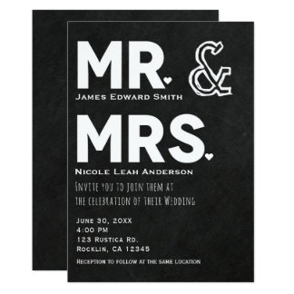 Chalkboard Chalk Mr. & Mrs. Wedding Engagement Card