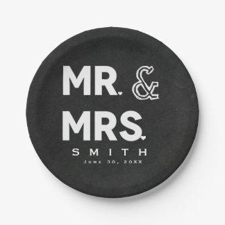 Chalkboard Chalk Mr. & Mrs. Wedding Engagement Paper Plate