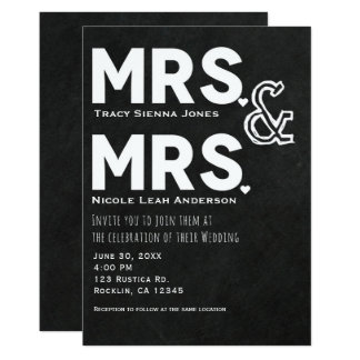 Chalkboard Chalk Mrs. & Mrs. Wedding Engagement Card