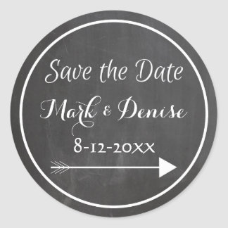 Chalkboard Chalked White Frame Arrow Save the Date Round Sticker