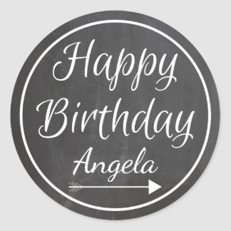 Chalkboard Chalked White Frame Happy Birthday Name Round Sticker