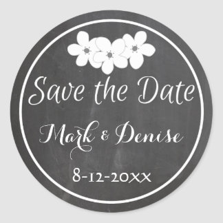 Chalkboard Chalked White Frame Save the Date Classic Round Sticker