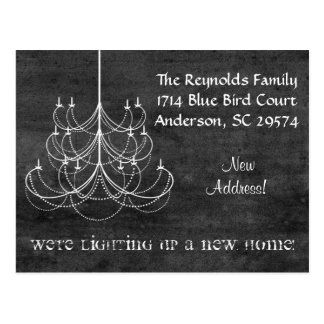 Chalkboard Chandelier New Address Moving Card