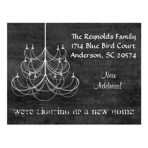 Chalkboard Chandelier New Address Moving Card Postcards