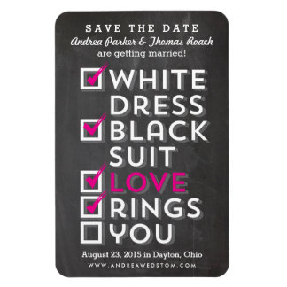 Chalkboard Checklist Save the Date Magnet pink