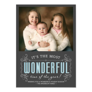 Chalkboard Cheerful Holiday Photo Flat Cards 11 Cm X 16 Cm Invitation Card