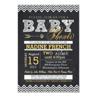 Chalkboard Chevron Baby Shower Invitation, yellow 9 Cm X 13 Cm Invitation Card