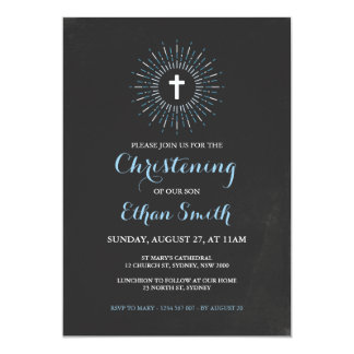 Chalkboard Christening / Baptism Invitation - Blue