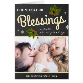 Chalkboard Christmas Blessings   Family Photo Card